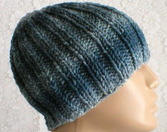 Ribbed beanie hat, skull cap, denim blue, striped hat, knit toque, blue hat, ski snowboard, hiker, runner biker, skateboard, mens womens hat