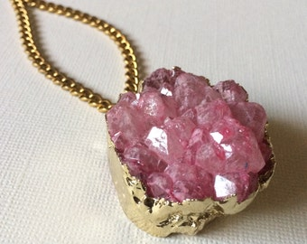 Chunky Pink 24 K Gold Druzy Necklace on Thick Antique Gold Faceted Chain