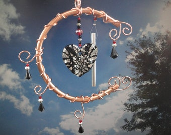 """SALE, Heart, Wind Chime, Sculpture, Copper, Window Hanging, Valentine, Wedding, Garden Art, Home Decor, """" I Love You to the Moon and Back"""""""
