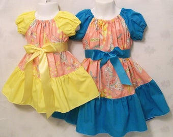 Sister Dresses, Peach Dresses, Peasant Dresses, Girls Dresses, Baby Toddler Big Girls Dresses, Sister & Me Peasant Dresses, USA Made, #170