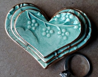 Ceramic Heart Ring Dishes sea green damask edged in gold Set of THREE