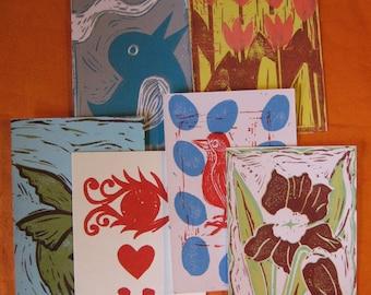 Six Blank Linocut  Postcards - Birds, Flowers, Spring!