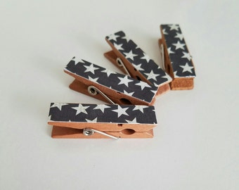 Magnets - Set of 4 - Yankee Doodle Patriotic Stars - Clothespin Clips - Hostess Gift - Ready To Ship
