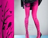 WinterSALE/// Tattoo Tights -  magenta one size Forest Symphony full length closed toe printed tights pantyhose, tattoo socks, printed nylon