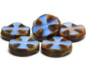 6pcs - 14mm - Czech Picasso Beads - Coin Beads - Czech Glass Beads - Cross Beads - Chunky Beads - Glass Beads -  (5635)