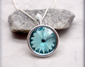December Birthstone Necklace Swarovski Rivoli Light Turquoise Jewelry Sterling Silver Everyday Crystal Jewelry Minimalist Gift for Her SN962