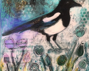 Winter Magpie In The Garden-Original painting by Maria Pace-Wynters
