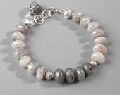 Mystic Labradorite Rainbow Moonstone Bracelet Sterling Fine Silver Spectrolite Bead DJStrang Boho Cottage Chic Color Flashing Stone