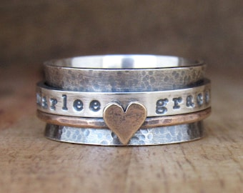 Spinner Ring, Personalized Ring, Fidget Ring, Rustic Bronze, Sterling Silver, Mixed Metal, Worry