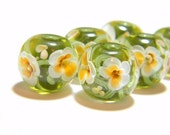 Olive and amber encased floral - Handmade lampwork glass bead - MADE TO ORDER