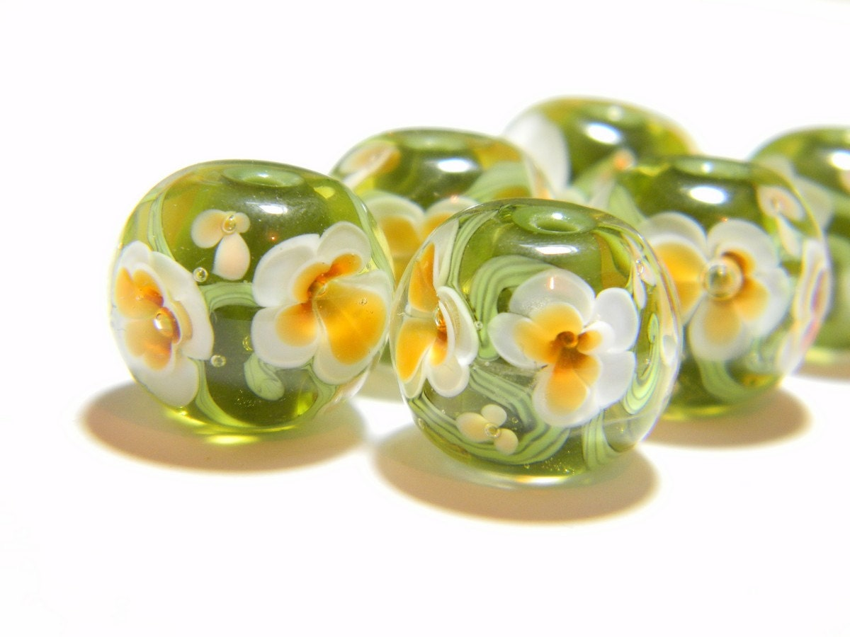 olive and amber encased floral handmade lampwork glass bead made to order