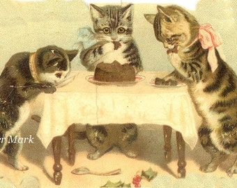 Cat*Cats*Kittens*Vintage style image*Cats eating chocolate cake*O Darling*Free shipping worldwide