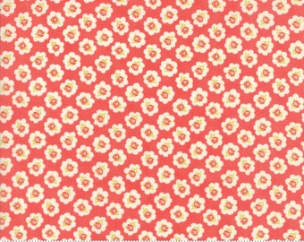 Coney Island - Cotton Blossoms in Candy Apple Red: sku 20281-12 cotton quilting fabric by Fig Tree and Co. for Moda Fabrics - 1 yard