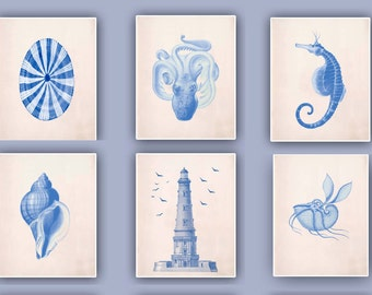Nautical blue Prints, blue octopus, Sea horse, Lighthouse, Argonauta, beach cottage decor, sea  collection, coastal living, Set 6 Prints