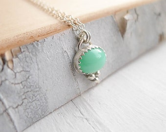 Chrysoprase Necklace Tiny Sterling Silver Gemstone Pendant Gift Green Pendant Charm