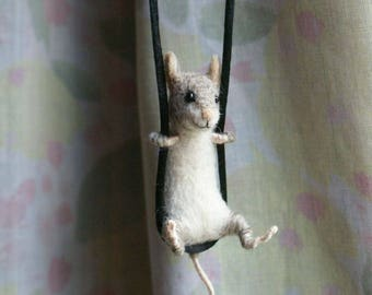 Tiny Mouse Necklace / sculpture - needle felted