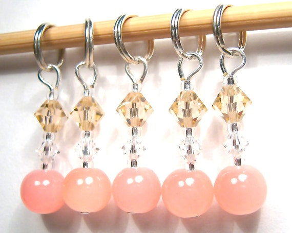 Powder Puff Stitch Marker Set - Customizable for Knitting or Crochet