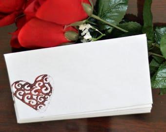 Heart Stamped Envelopes