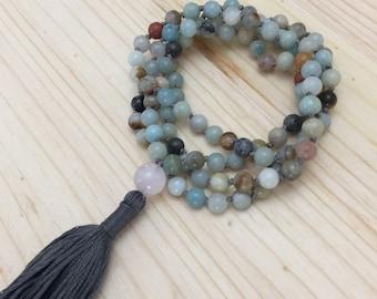 Knotted Mala, Mala Necklace, Amazonite Mala, Rose Quartz, Tassel Necklace