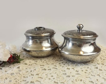 Vintage Forbes Quadruple Plate Hair Receiver and Powder Jar Vintage Silverplated Vanity Set Embossed Flowers Cottage Chic Boudoir Decor