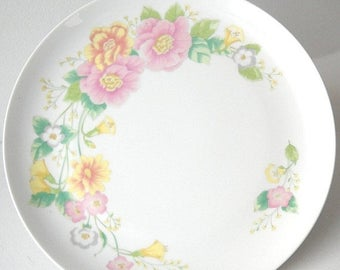 Shafford Cake Plate, Vintage Pedestal Salver, Wedding Table Serving, Pink and Yellow Flowers, Kitchen Dessert Tray