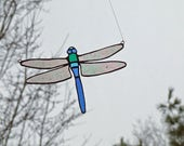 Stained Glass Blue Dasher Dragonfly -Erythemis simplicicollis Glass Sun Catcher - Nature Inspired Gift - Grief and Mourning Gift