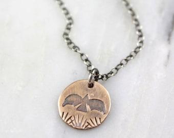 Little Stamped Bronze Bird Oxidized Silver Necklace