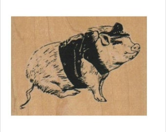 Pig leather rubber stamp biker hog Stamping scrapbooking supplies no4531  motorcycle
