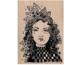 girl face  rubber  stamp Whimsical Leaf Lady Face     steampunk zentangle  art stamps original design by Mary Vogel Lozinak no20111