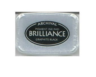 Brilliance Archival Pigment Ink Pad - Graphite Black rubber stamp supplies scrapbooking  stamp