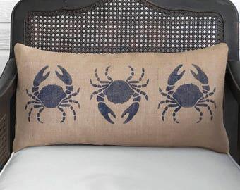 Blue Crab -  Burlap Pillow  - Coastal Decor - Crab Pillow - Nautical Pillow - Beach House -