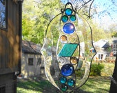Abstract Stained Glass Suncatcher, Blue and Purple Contemporary Stained Glass Rainbow Maker, Beveled Glass Suncatcher
