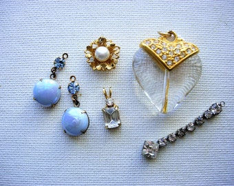 Lovely Lot of Variuos Vintage Rhienstone Pendants-Charms Jewelry Components