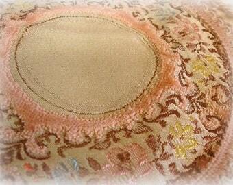 vintage velvet tapestry doily vintage belgian doily made in belgium dusty rose floral tapestry with cut velvet round doily dollhouse rug