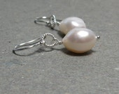 White Pearl Earrings June Birthstone Baroque Pearls Sterling Silver Bride, Wedding Earrings Large Pearls Gift for Her
