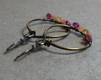 Pink Tourmaline, Peach Moonstone, Citrine Earrings Brass Hoops Wire Wrapped Oxidized Sterling Silver Mixed Metals