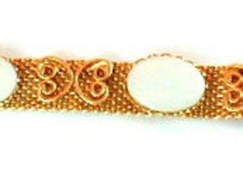 1960s Mesh & White Cabochon Mesh Bracelet Unused Vintage