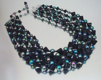 Gorgeous Black Glass Necklace 4 Strand Triangle Round Bugle Beads Aurora Borealis Vintage Unused