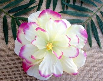 Pink and Cream Hibiscus Hair Clip, PinUp Tropical Hair Clip , Hawaiian Hair Clip