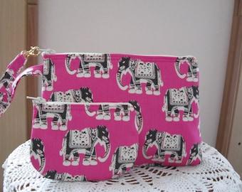 Elephants on Pink Smart phone Case Gadget Pouch Clutch Wristlet Zipper  Bag Set