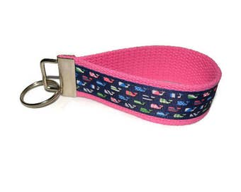 Lilly Pulitzer Inspired Ribbon  Keychain Wristlet