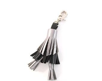 Leather Tassel Keychain- Black/Silver