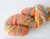 Sherbet Delight - Corriedale Singles Handspun Yarn Worsted - DK Weight Soft Natural Fiber Hand Spun knitting shawl