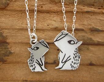 Sterling Silver Capybara Necklace Set - Mother-Daughter Capybara Pendants
