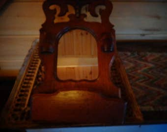 Just marked down 7/23 Antique Adirondack Mirror with Mail Holder  Made of Hardwood Oak