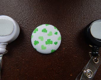 Fabric Covered Button for Clip on Retractable Badge Reel - St Patrick's Day Clovers