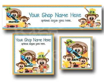 Premade Etsy Cover Photo  - Large Etsy Banner - Etsy Shop Banner - Shop Icon - Educational Monkeys - School Supplies - Crayons