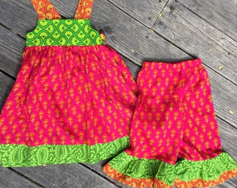 Little girls dress and bloomers, 5T pants and dress, sundress, ruffle pants, girls, children's handmade