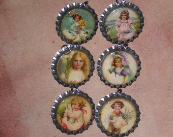 6 Silver Bottle Cap Charms Vintage Retro Easter Lamb Lily Girl Bunny Eggs Mini Tree Ornaments Ornies Party Favors Scrapbooking Gift Ties