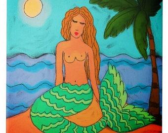 Mermaid Under Palm Tree Abstract Digital Painting Printed on Ceramic Tile